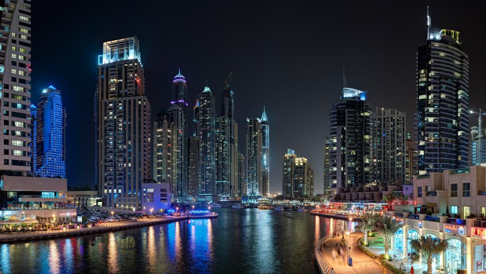 Skyscrapers at the Dubai Marina at night wallpaper