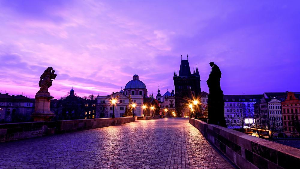Charles Bridge at dusk wallpaper