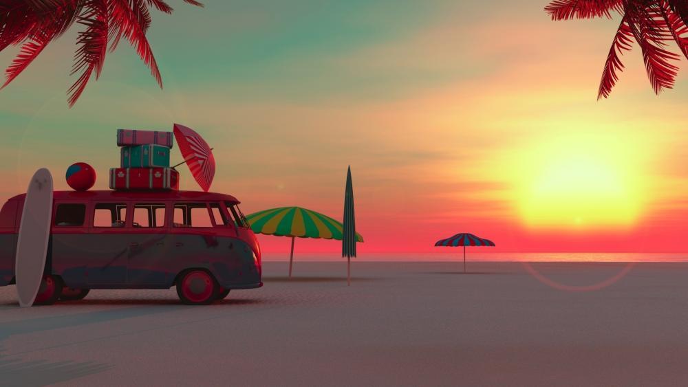 Summertime vacation - 3D graphics wallpaper