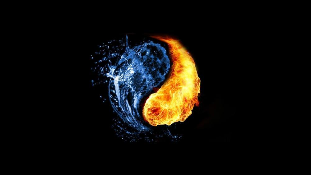 Water and Fire Yin Yang wallpaper