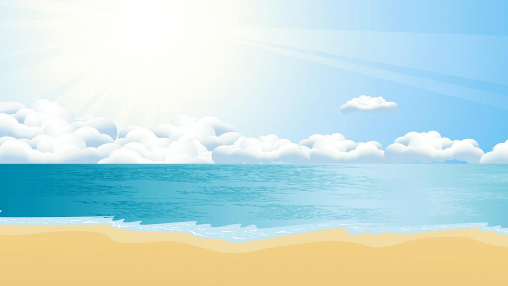 8K Summer beach graphics wallpaper