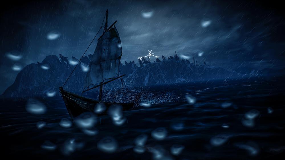 Sailing ship on the rough sea wallpaper
