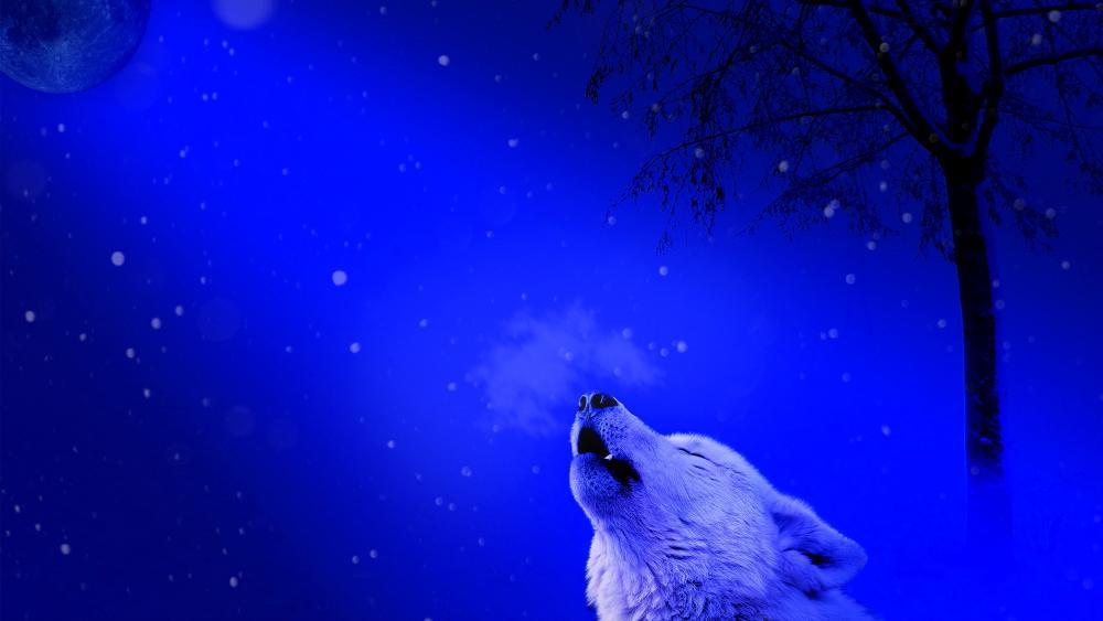 Wolf howling - Fantasy art wallpaper