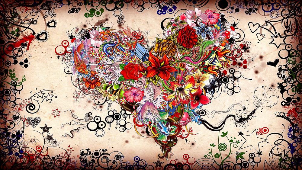 Heart flowers painting artwork wallpaper