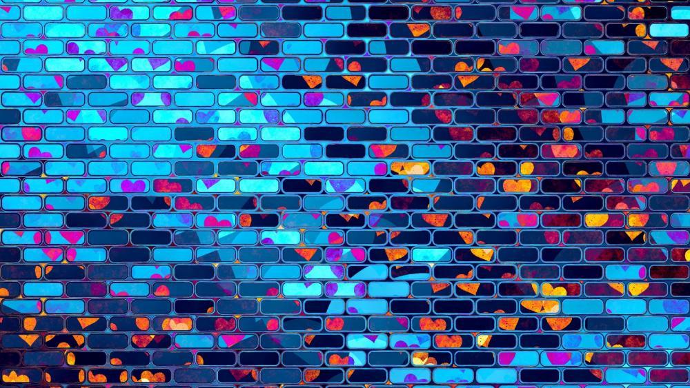 Abstract hearts on a brick wall wallpaper