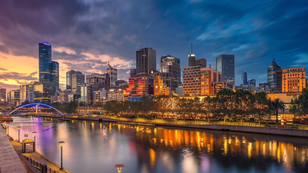 Melbourne at dusk wallpaper