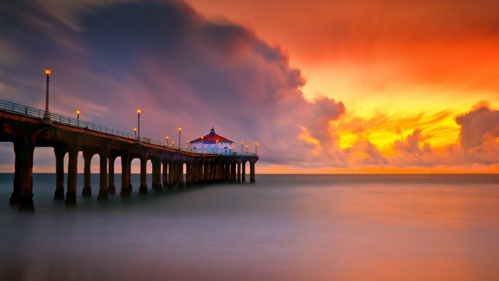 Orange sunset and the Manhattan Beach Pier view wallpaper