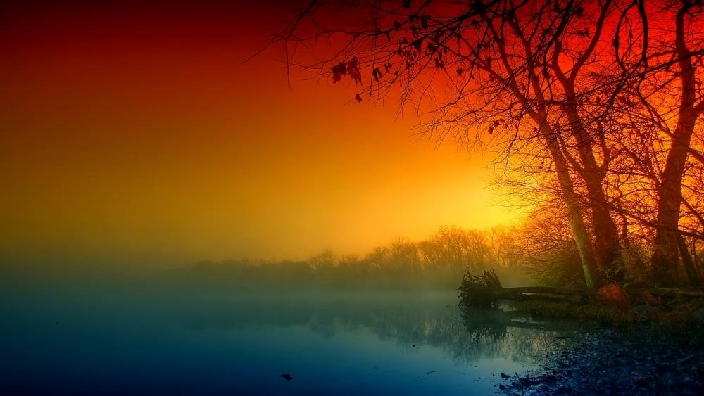 Colorful fall evening wallpaper