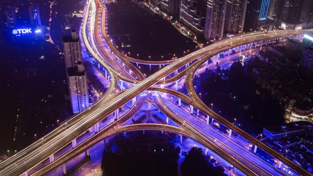 Shanghai Elevated Road Interchange at Night wallpaper