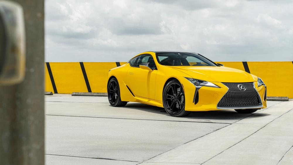 Yellow Lexus LC 500 sports car wallpaper