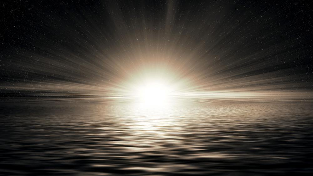 Rays in the horizon wallpaper