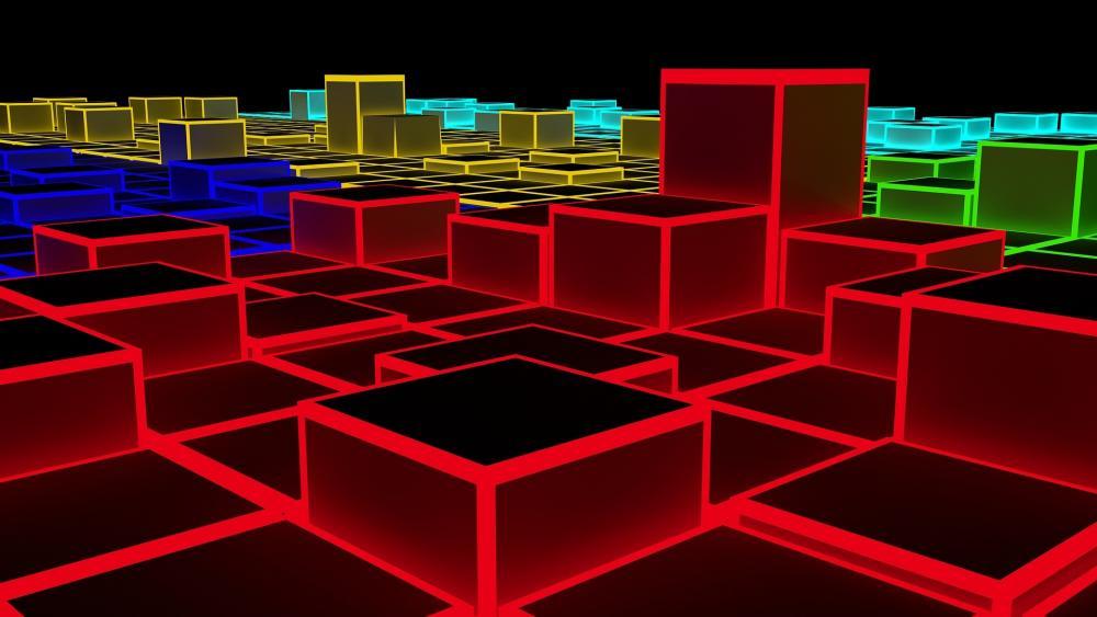 Glowing 3D cubes wallpaper