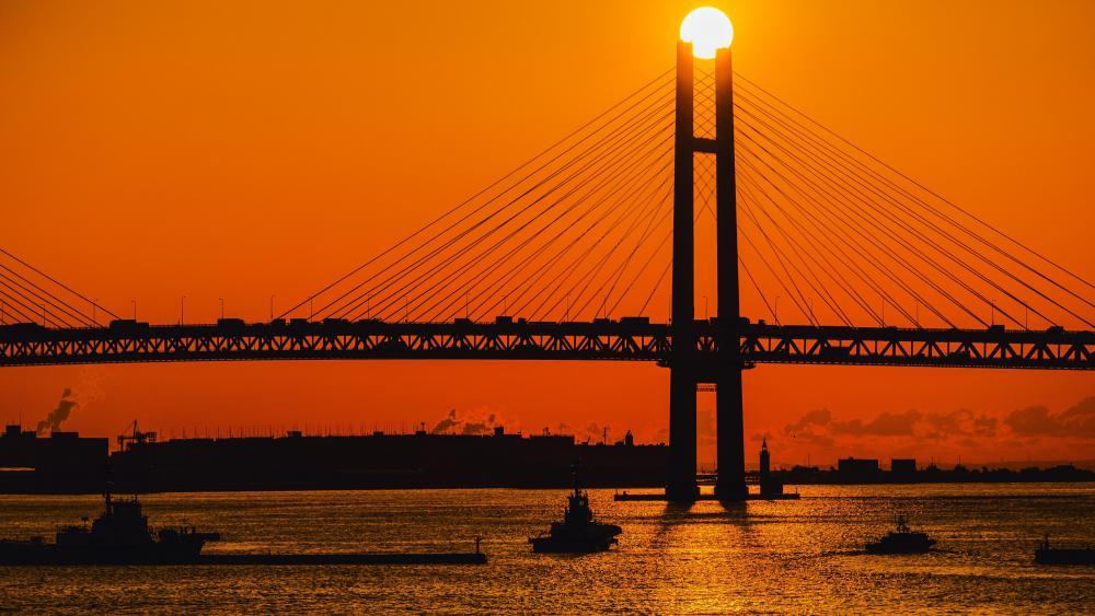 Sunrise Over the Yokohama Bay Bridge wallpaper