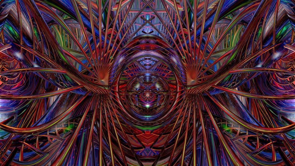 Multicolored psychedelic digital art wallpaper