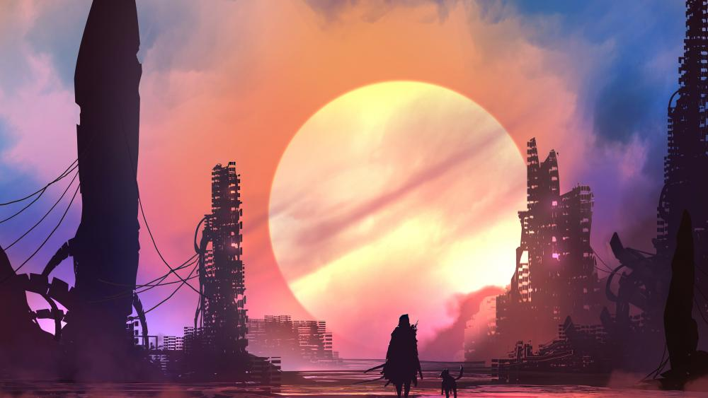 Apocalyptic metropolis fantasy art wallpaper