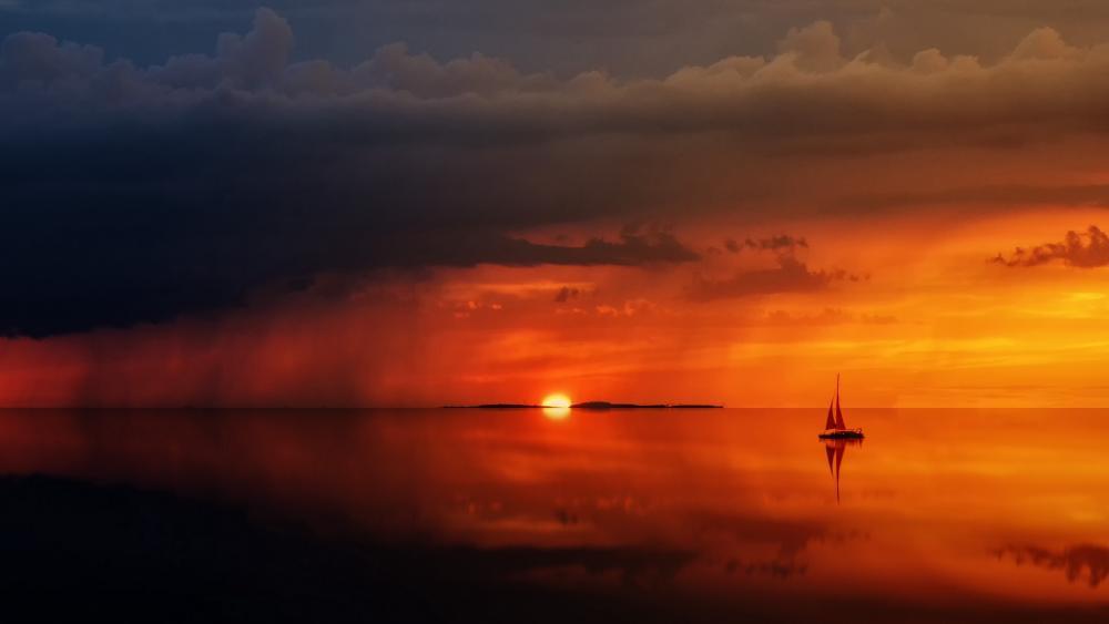 Sailboat at sundown wallpaper