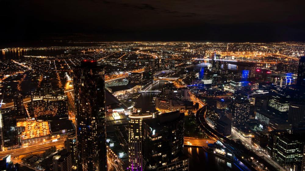 Melbourne, Australia at Night wallpaper