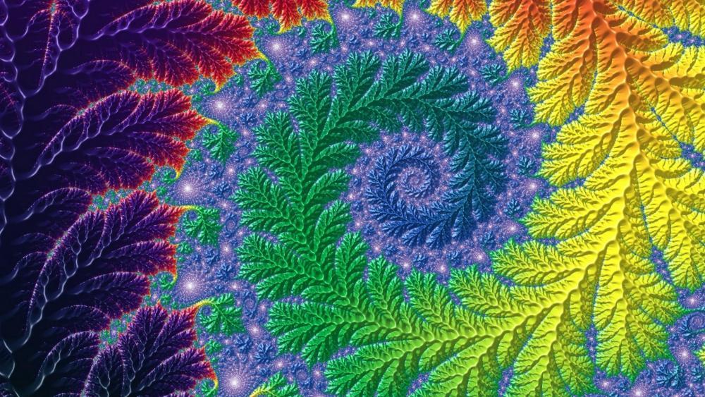 Multicolor fractal fern wallpaper