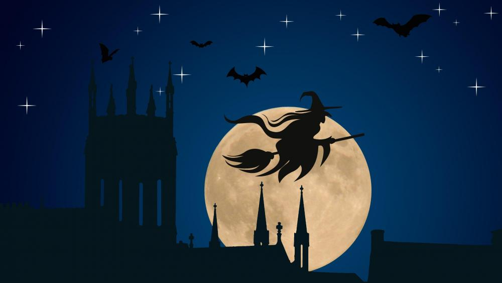 Witch flying on broomstick silhouette wallpaper