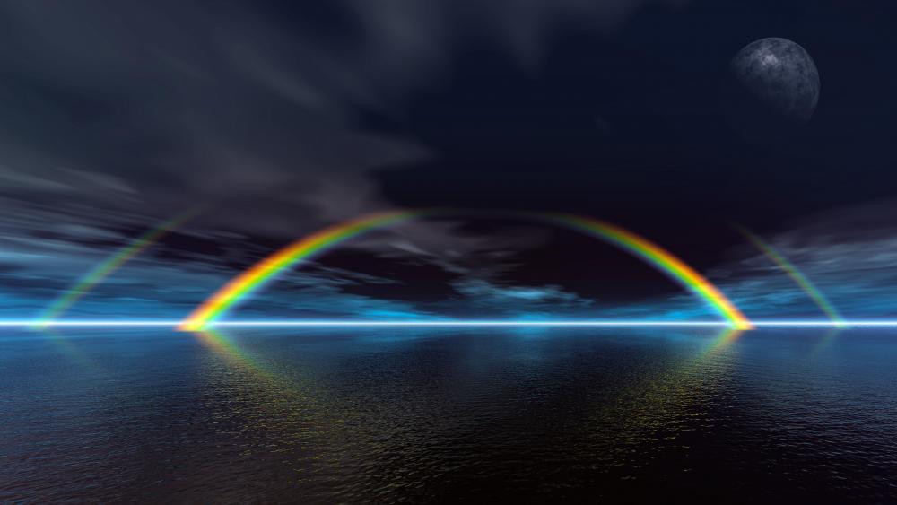 8K Double rainbow wallpaper