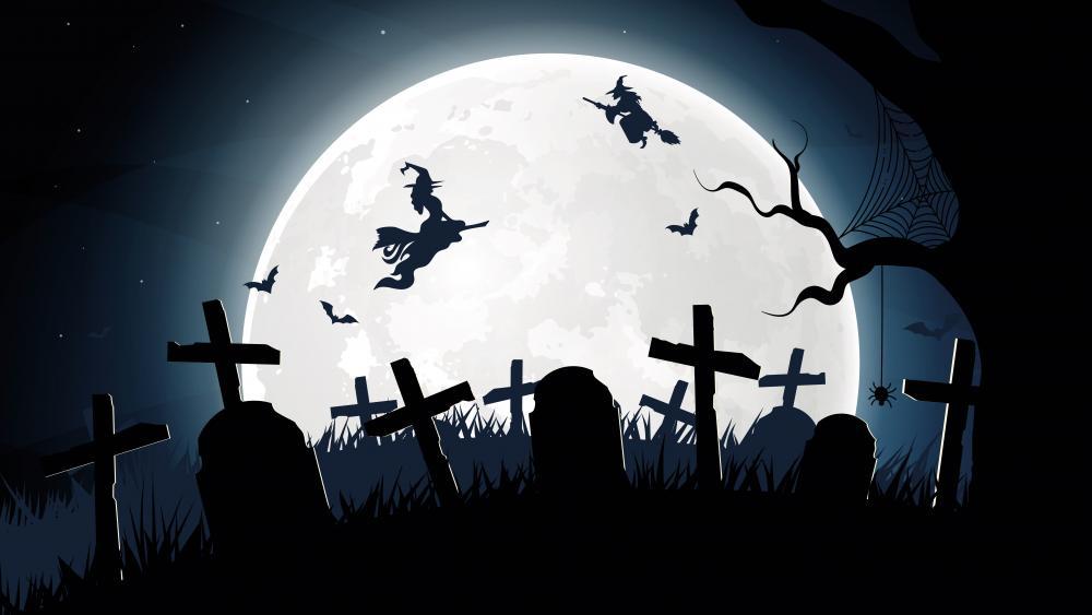 Halloween cemetery silhouette wallpaper