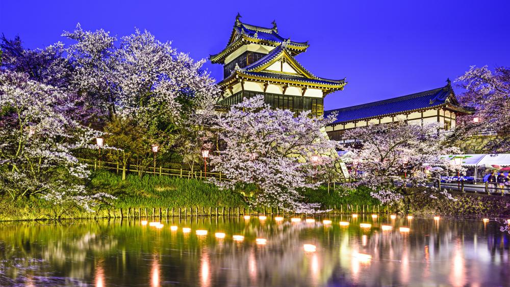 Koriyama Castle on a spring evening wallpaper