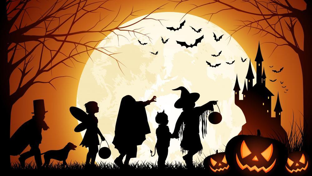 Kids at halloween night wallpaper
