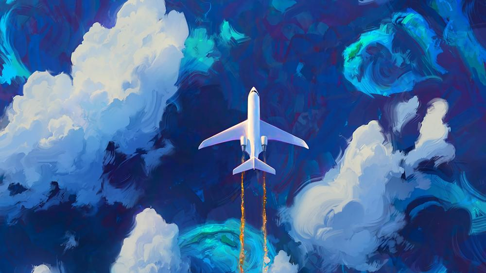 Airplane painting art wallpaper