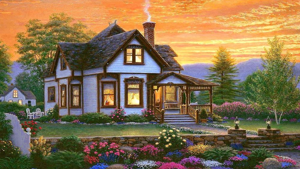 Charming cottage in natural landscape wallpaper