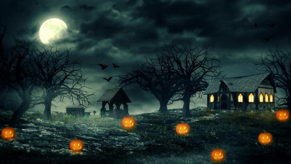 Full moon at Halloween night wallpaper
