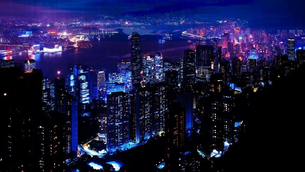 Hong Kong at night from Victoria Peak wallpaper