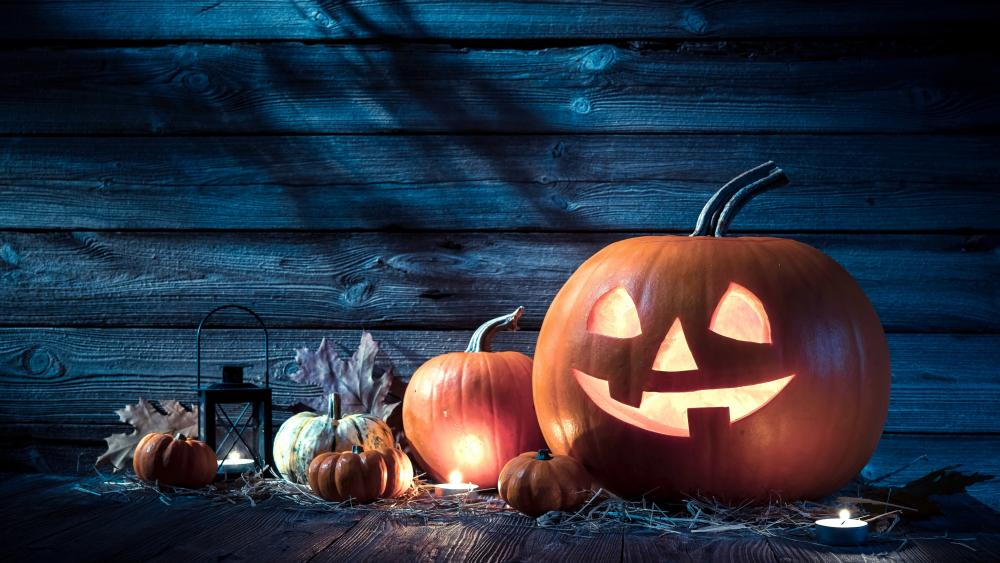 Carved pumpkin Jack O'lantern wallpaper