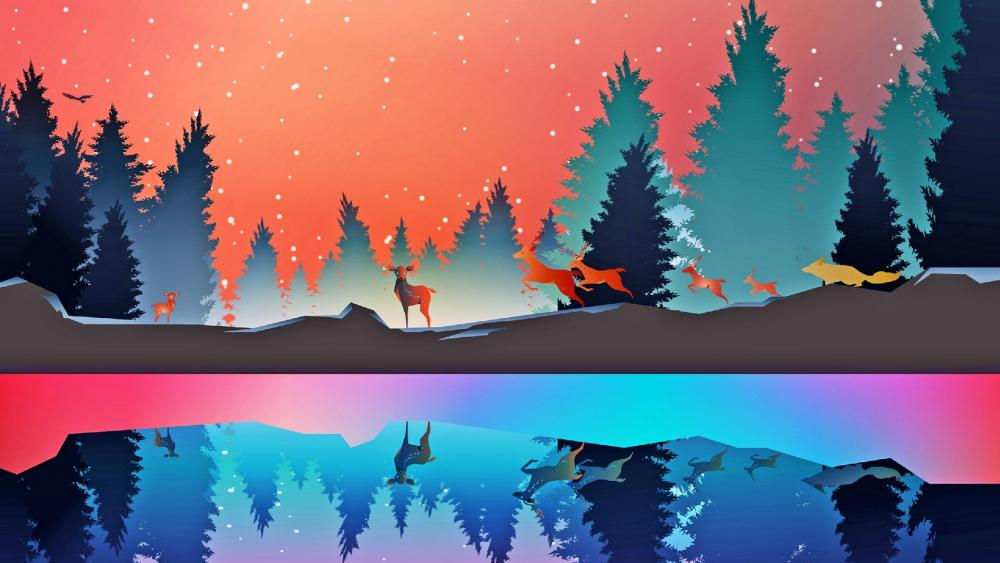 Wild animals in the winter forest wallpaper