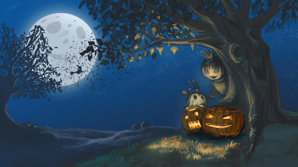 Jack O'lanterns under a tree wallpaper