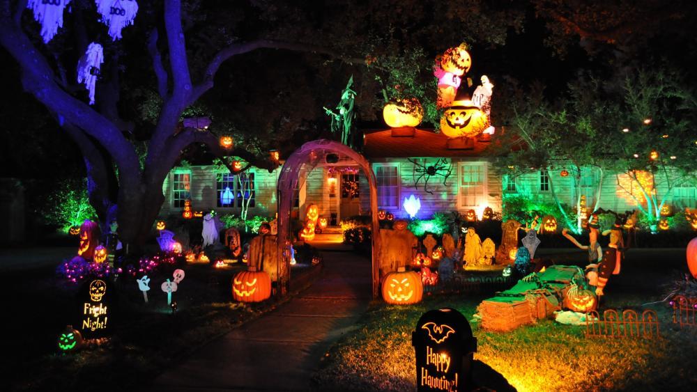 Halloween garden night wallpaper