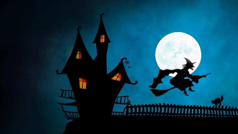 Witch in the full moon wallpaper