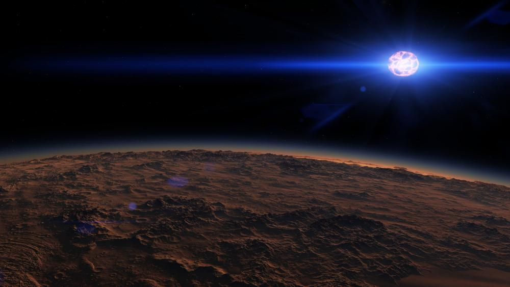 Glowing star from a planet - Space Art wallpaper