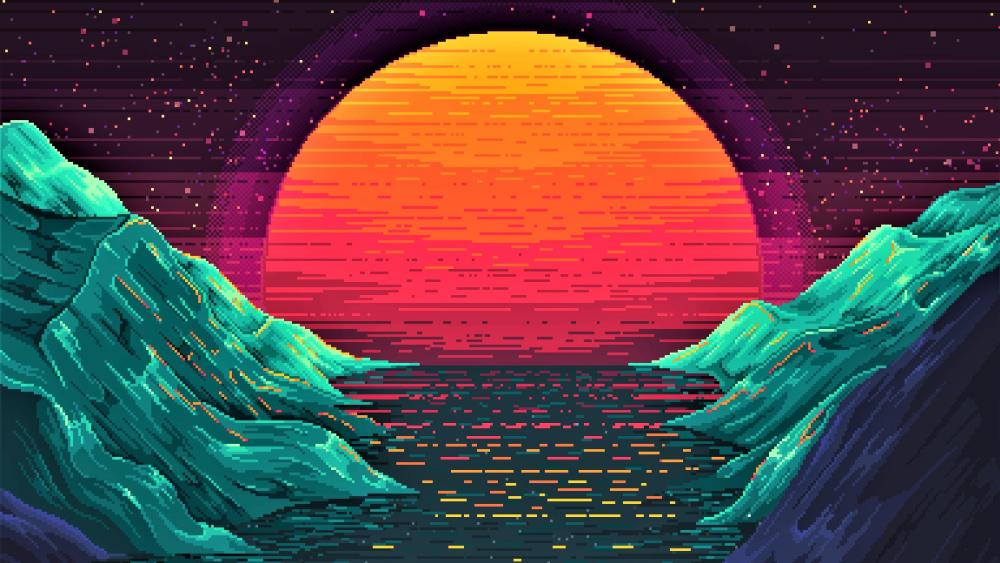 Sunset pixelated retrowave digital art wallpaper