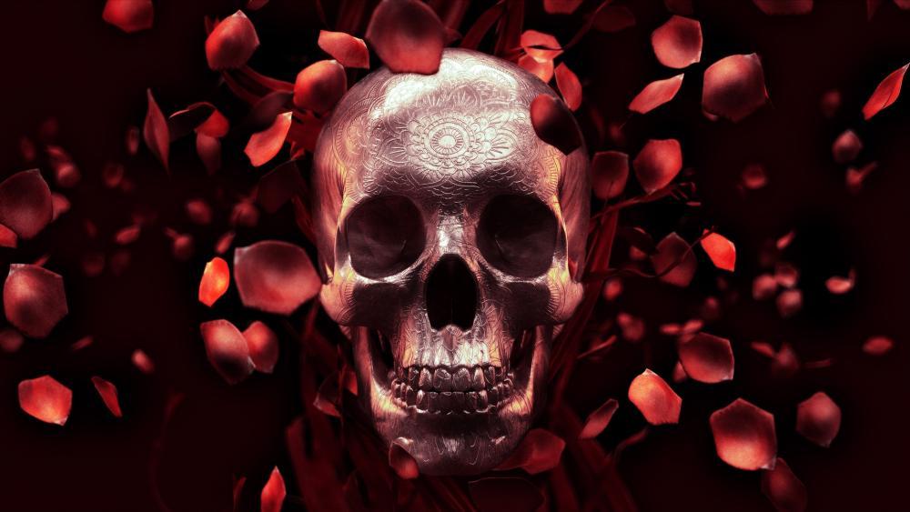 Skull with red rose petals wallpaper