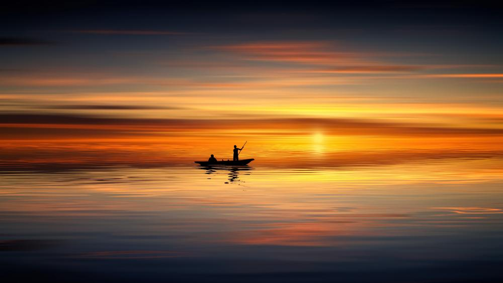 Fishermans in the sunset wallpaper