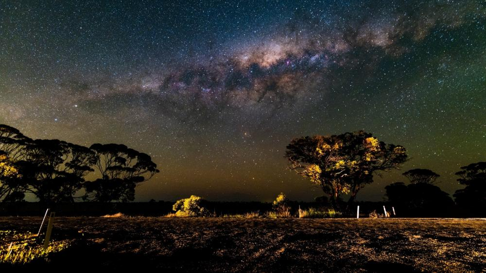 Night landscape under the Milky Way wallpaper