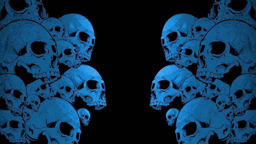Blue skulls wallpaper