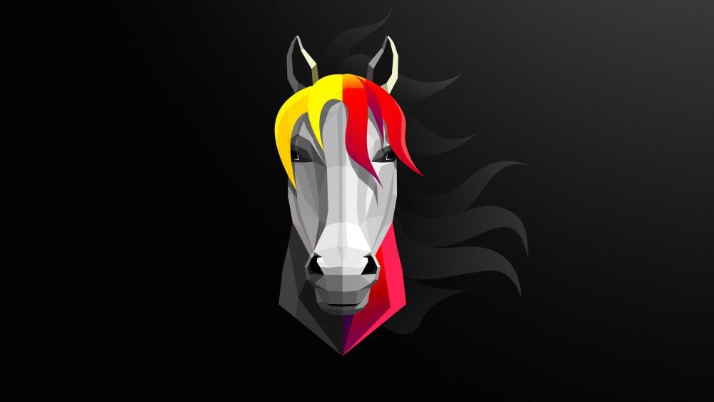 Horse minimal art wallpaper