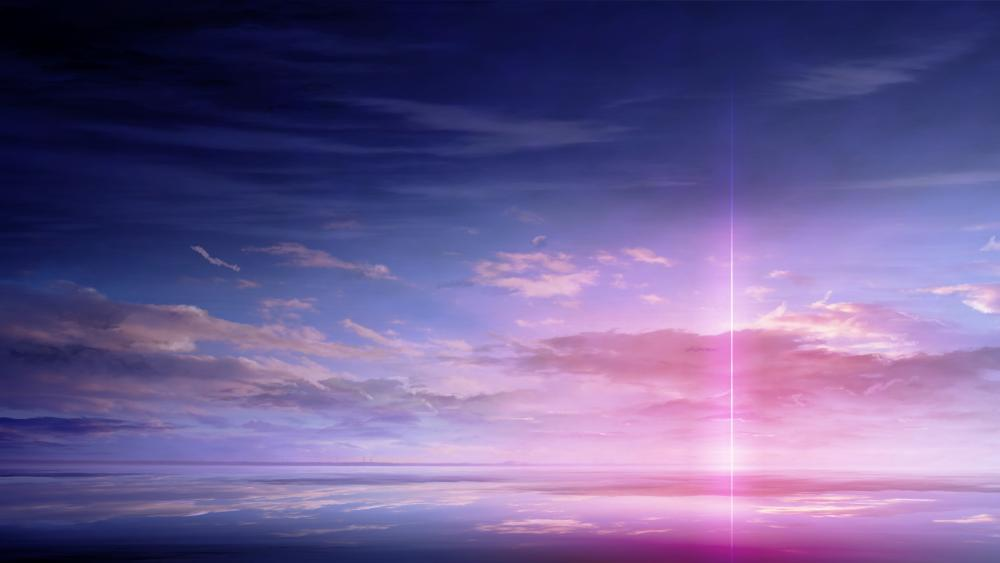 Pink anime sky wallpaper