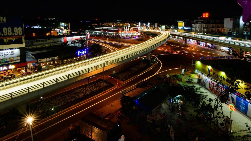 Ho Chi Minh City Freeway at Night wallpaper