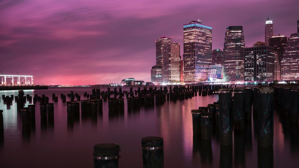 East River pier stumps and Lower Manhattan skyline wallpaper