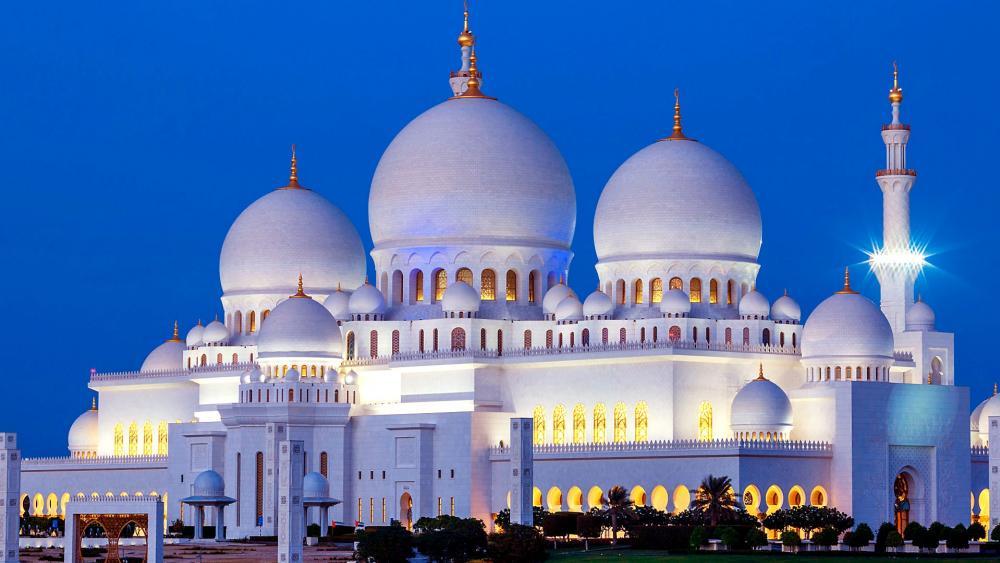 Abu Dhabi Sheikh Zayed Mosque At Night wallpaper