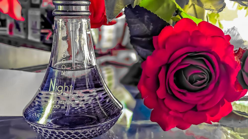 Artificial rose and parfume wallpaper