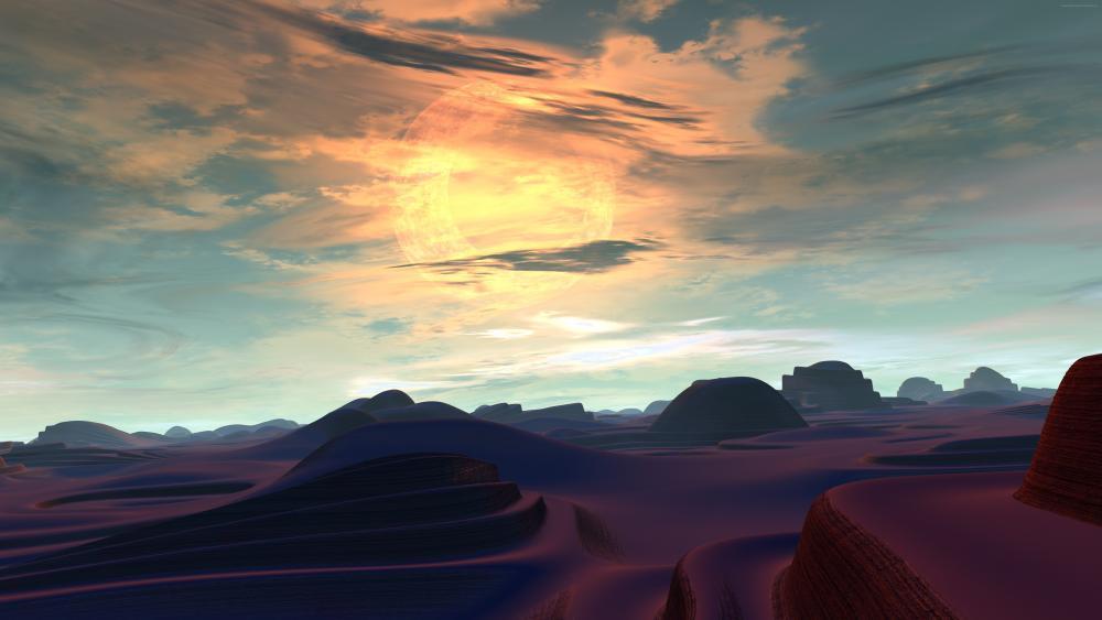 Alien planet landscape digital art wallpaper