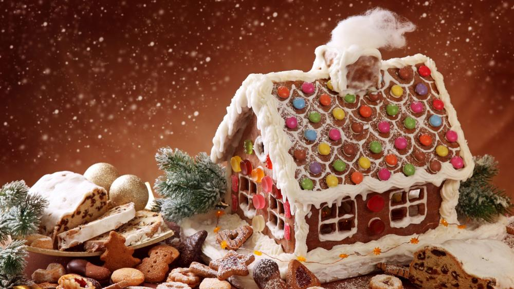 Gingerbread house wallpaper